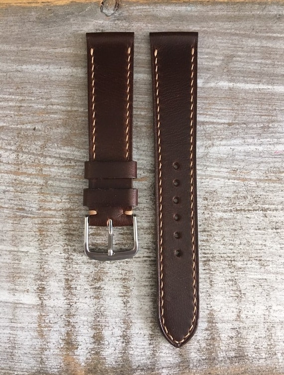 Custom Brown Horween Chromexcel watch band with full stitching