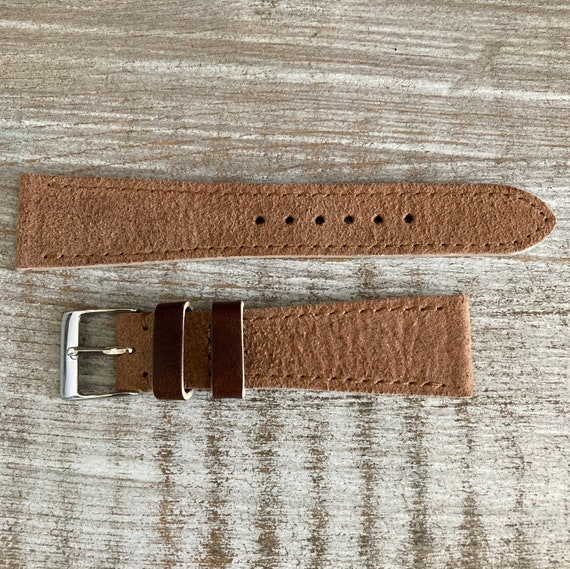 20mm Light Brown Reverse Horween Chromexcel watch strap/band