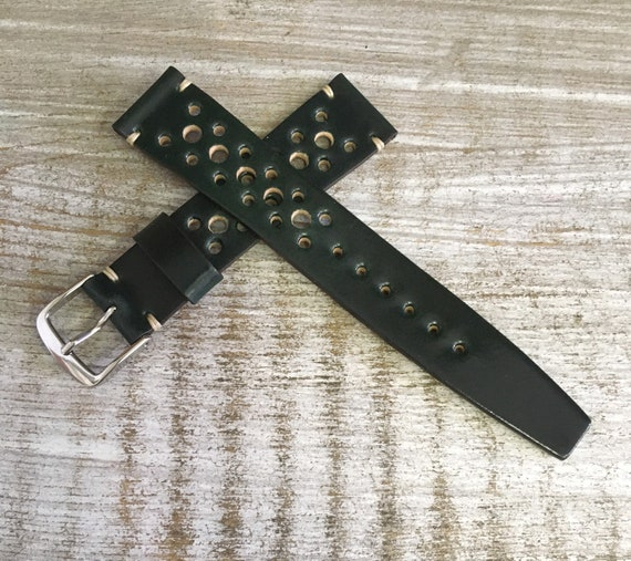18/16mm DARK Green Horween Shell Cordovan watch band