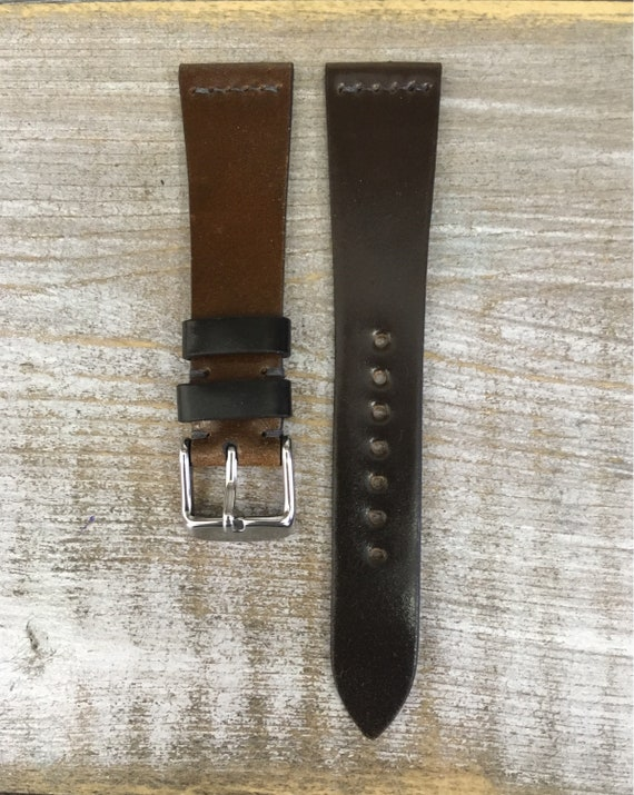 20/16mm Horween Shell Cordovan watch band - simple middle stitch