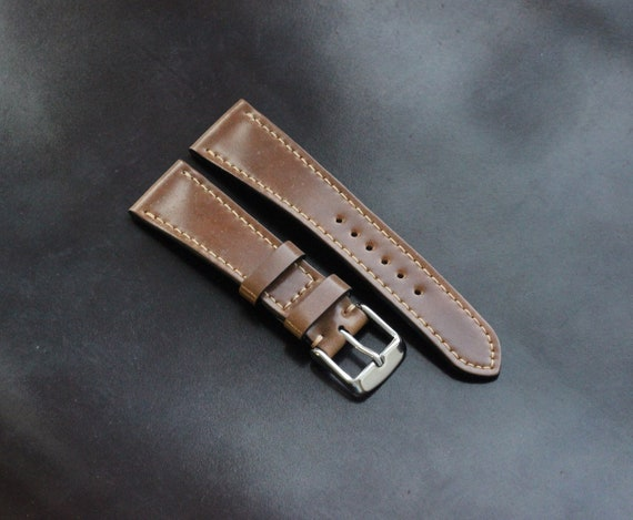 Bourbon Horween Shell Cordovan watch strap - full stitching