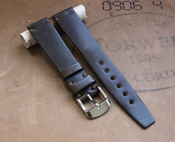 VTG style Dark Brown Horween Shell Cordovan watch band - simple stitching