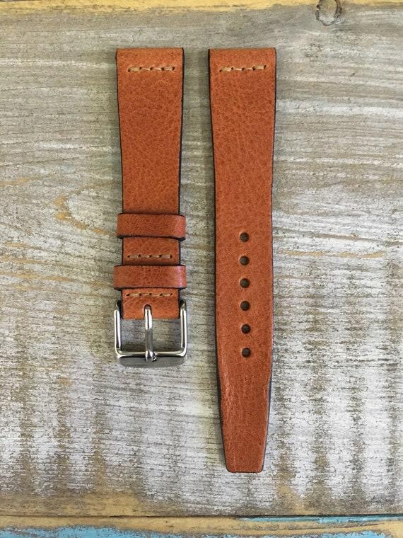 18/16mm VTG style Italian Calf watch band - Dark Tan