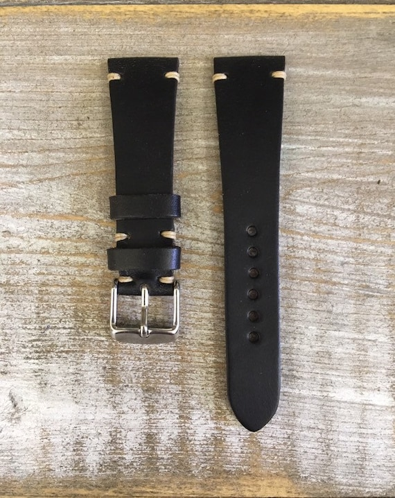 20/16mm Black Horween Chromexcel watch band