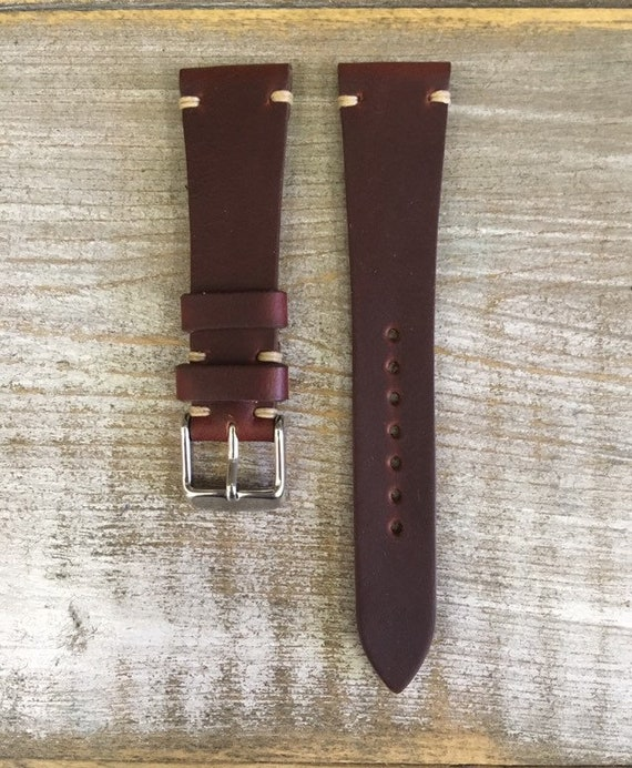 20/16mm Burgundy Horween Chromexcel watch band