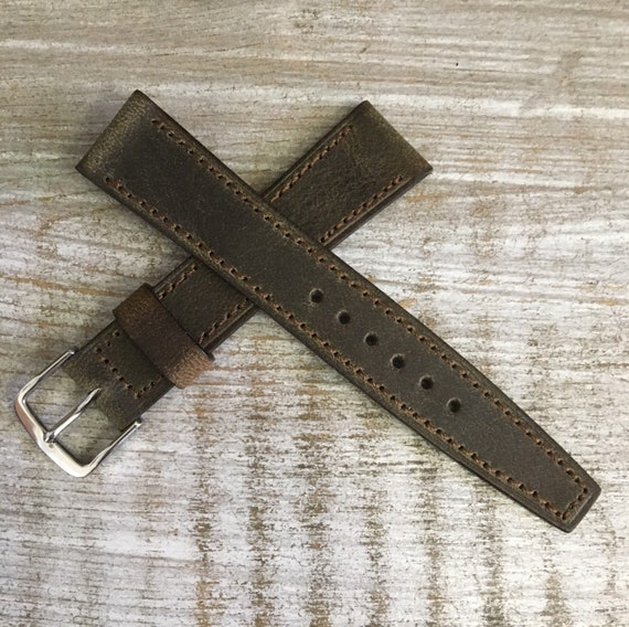 18mm Vintage Style Italian Calf watch band - Antique Olive