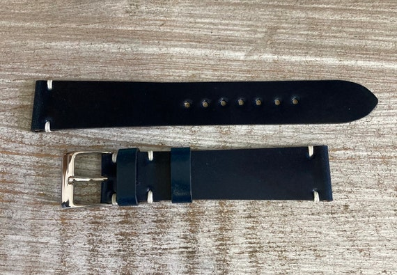 18mm Navy Blue Horween Shell Cordovan watch band
