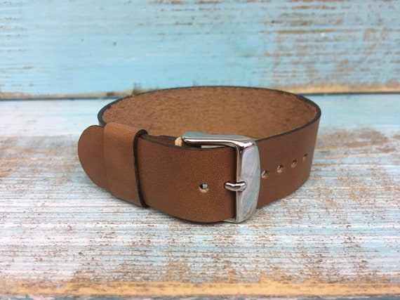 20mm Light Brown Italian Calf 1 piece strap