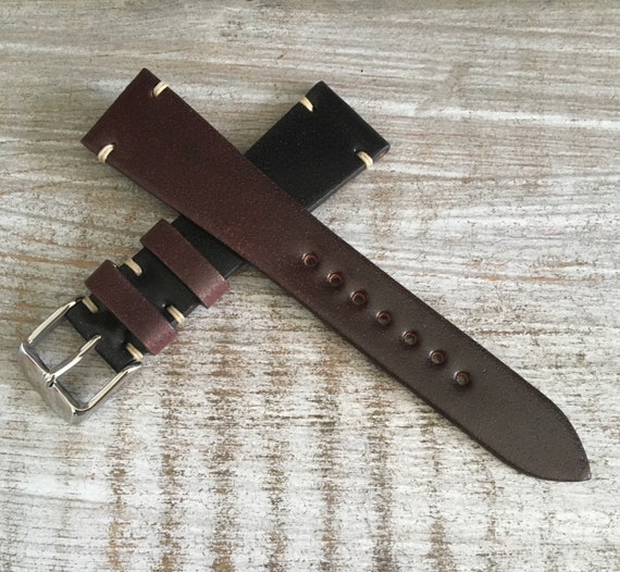 20mm Two tone Horween Shell Cordovan watch band