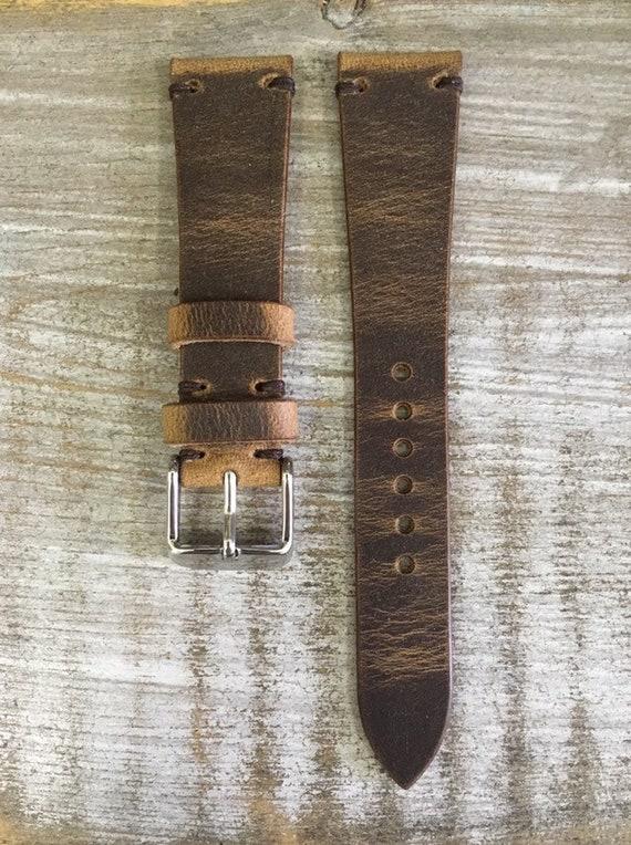 20/16mm Antique Rust Horween Spinnaker watch band