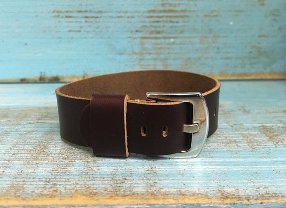 18mm Oxblood Horween Chromexcel 1 piece strap