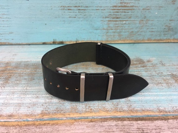 Black Horween Shell Cordovan watch band