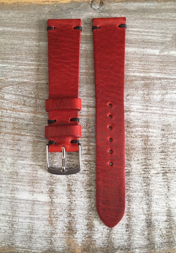 19/16mm Classic Italian Calf watch band - Cherry