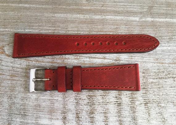 20mm Classic Italian Calf watch band - Cherry Red