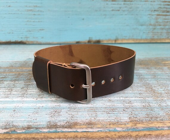 19mm Brown Horween Shell Cordovan 1 piece strap