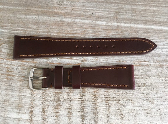 20mm Oxblood Horween Chromexcel watch strap/band