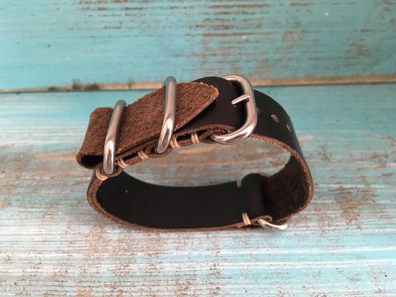 20mm Black Horween Chromexcel  watch band