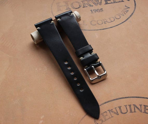 Black Horween Shell Cordovan watch band - simple stitching