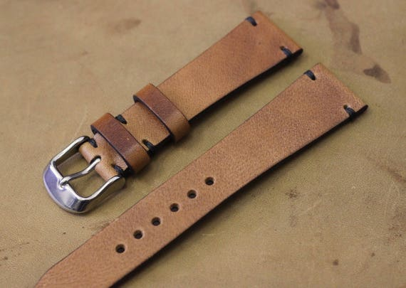 20/16mm English Tan Horween Derby watch band with simple stitching