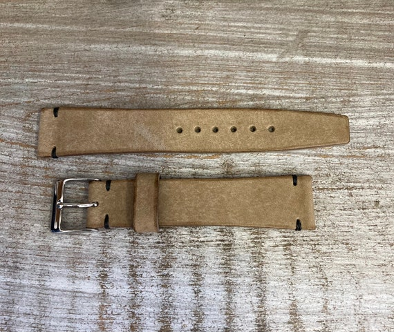 18mm Vintage Style Italian Calf watch band - Taupe