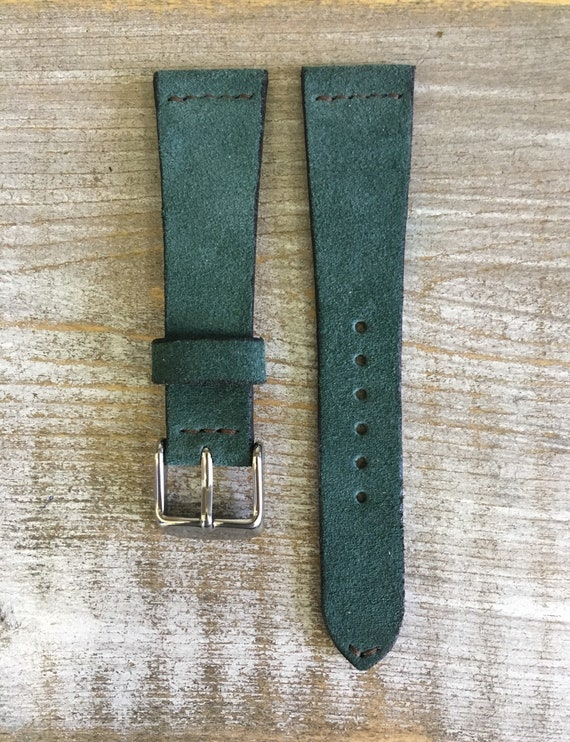 20/16mm Classic Italian Suede watch band - Emerald Green