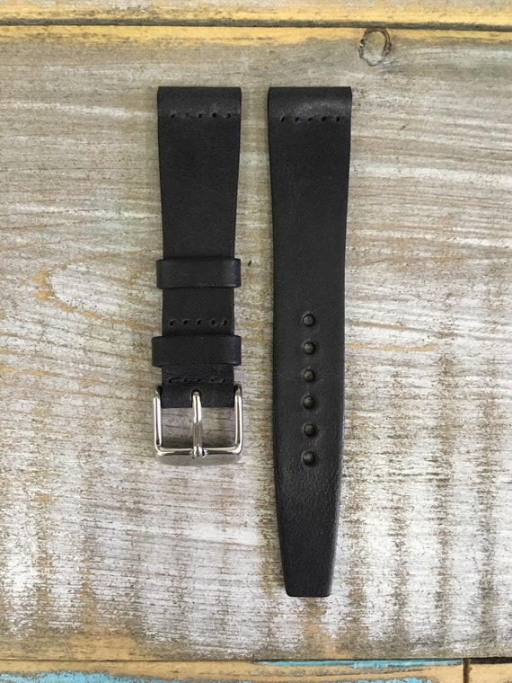 18/16mm VTG style Italian Calf watch band - Black