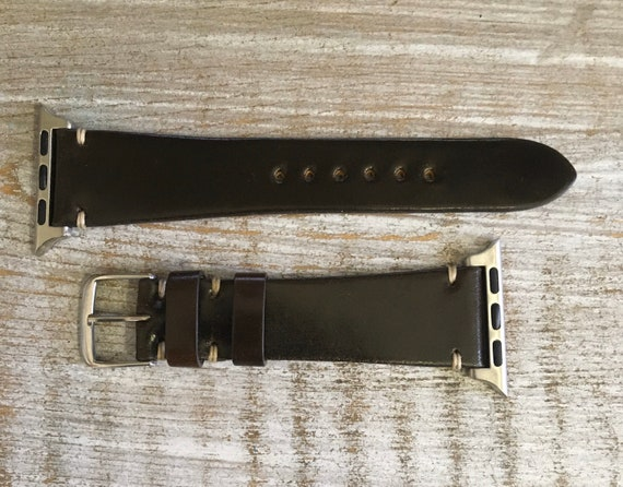 Dark Brown Horween Shell Cordovan watch band for Apple Watch