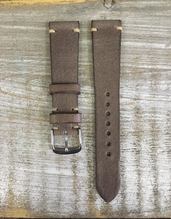19/16mm Classic Italian Calf watch band - Vintage Grey