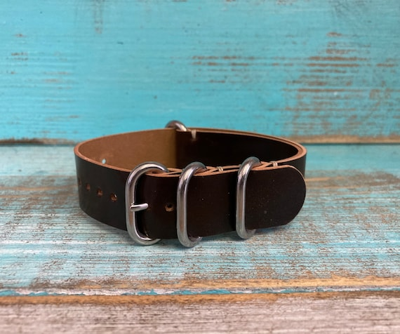 20mm Dark Brown Horween Shell Cordovan 4 ring ZULU strap