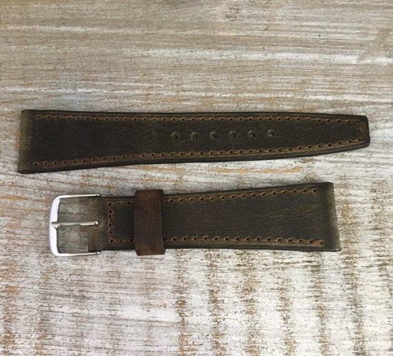 20/16mm Vintage Style Italian Calf watch band - Antique Olive