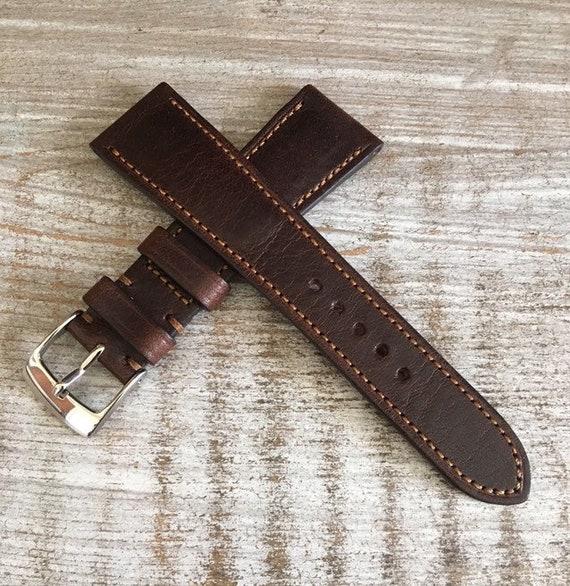 Italian Calf / full stitching / light padding watch band - Oak Brown