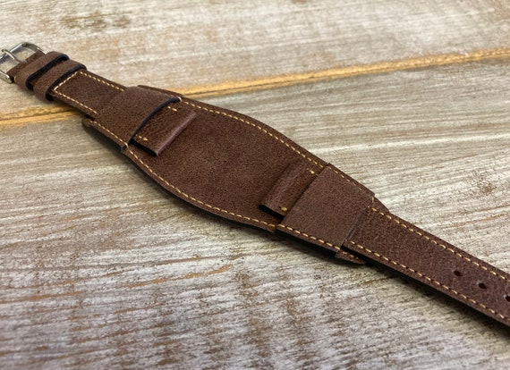 20mm Brown Vintage leather BUND strap