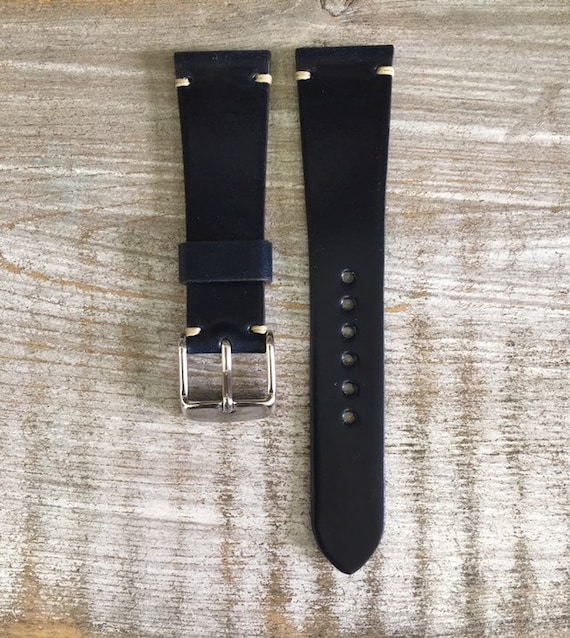 20/16mm Navy Blue Horween Shell Cordovan watch band