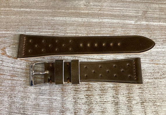 21mm Dark Brown Horween Shell Cordovan watch band
