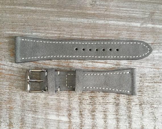 Classic Italian Suede watch strap - Light Grey