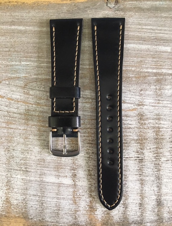 20/16mm Black Horween Shell Cordovan watch band with full stitching