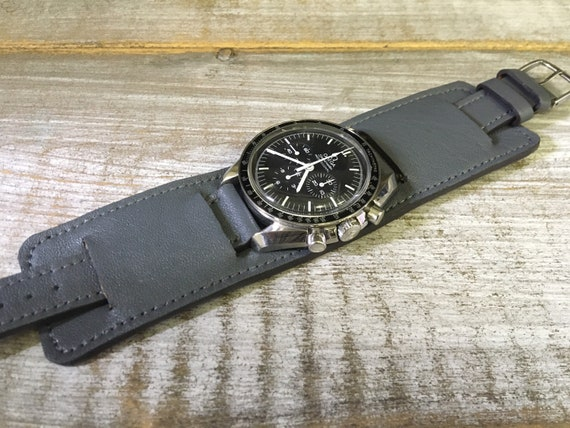 Vintage Leather Paul Newman watch strap in Old Grey