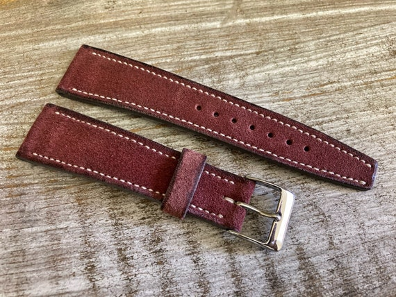 20mm Classic Italian Suede watch band - Burgundy