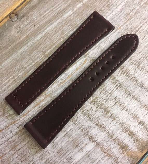 Horween Shell Cordovan watch band for deployment buckle