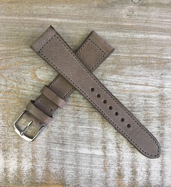 Italian Calf / full stitching watch band - Vintage grey