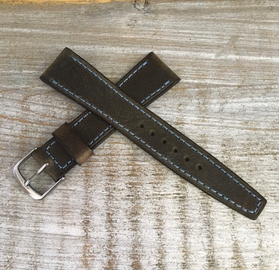 19/16mm Vintage Style Italian Calf watch band - Antique Olive