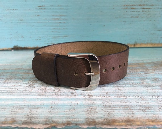 20mm Olive Brown Italian Calf 1 piece strap