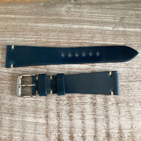 20mm Navy Blue Italian Shell Cordovan watch band
