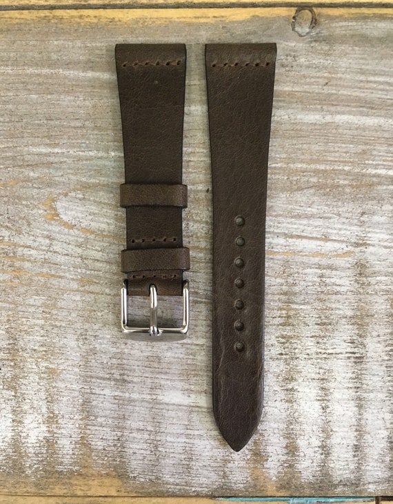 20/16mm Classic Italian Calf watch band - Olive Brown