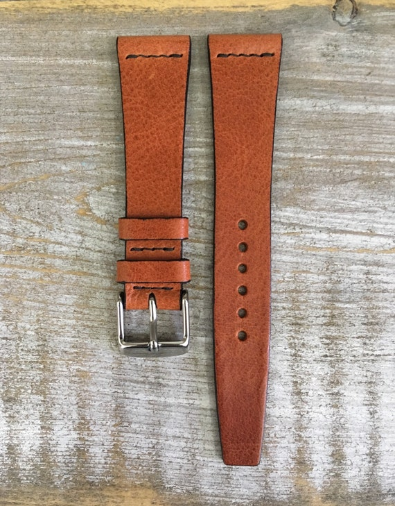 20/16mm VTG style Italian Calf watch band - Dark Tan