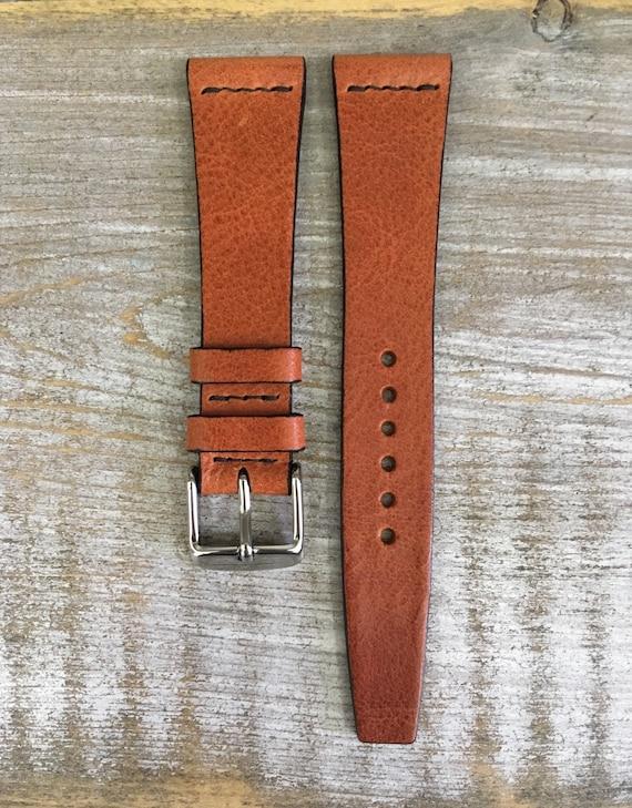 20/16mm VTG style Italian Calf watch band - Dark Tan