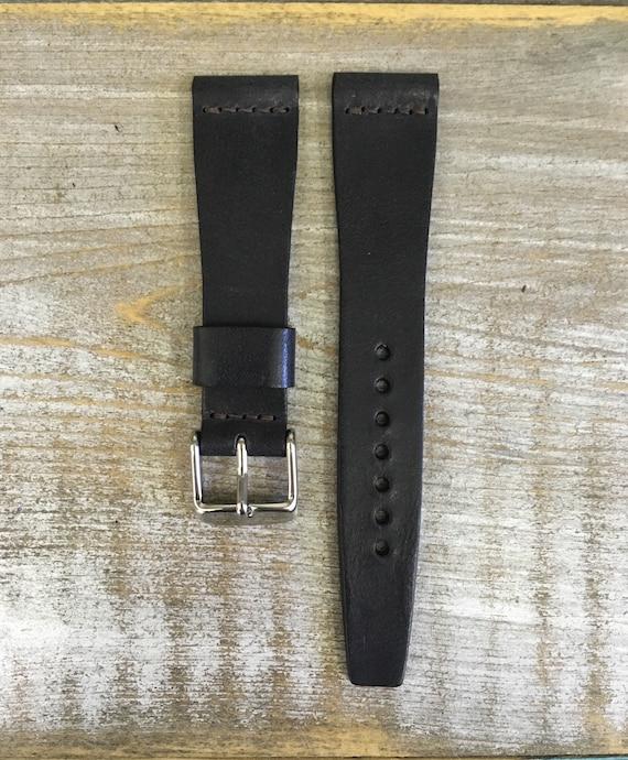 19/16mm VTG style Italian Calf watch band - Black