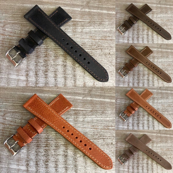 Italian Calf with full stitching watch band - 6 colors available