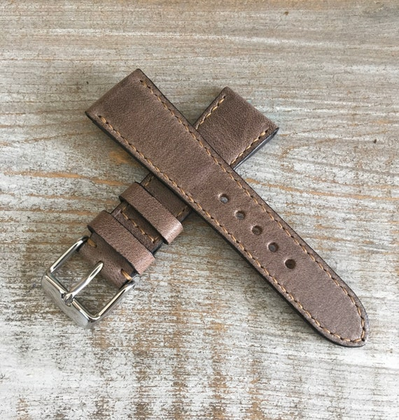 Italian Calf / full stitching / light padding watch band - Antique Grey