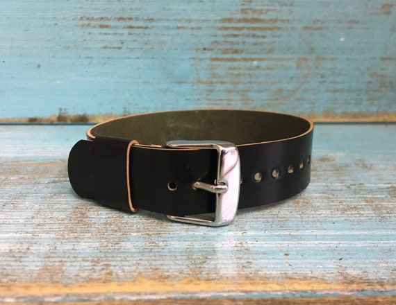 17mm Black Horween Shell Cordovan 1 piece strap